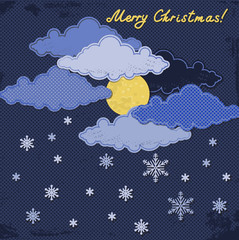 Paper moon and clouds with snowflakes