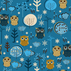 Cute colorful seamless pattern with owsl and trees