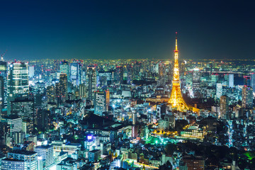 Self adhesive Wall Murals Tokyo Tokyo skyline at night