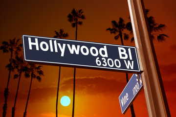 Wall Mural - Hollywood Boulevard with Vine sign illustration on palm trees