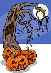 halloween pumpkins with tree cartoon
