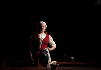 Medieval style girl at the restorant of  tallinn