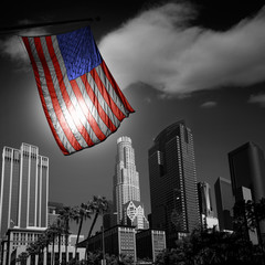 Wall Mural - USA United States flag in black and white LA downtown