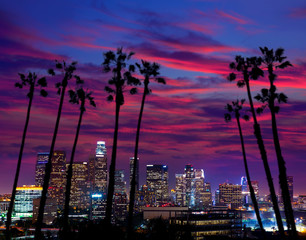 Spoed Fotobehang Los Angeles Downtown LA night Los Angeles sunset skyline California