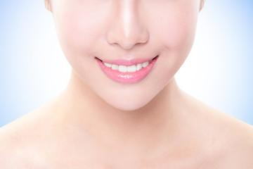 Beautiful young woman teeth close up