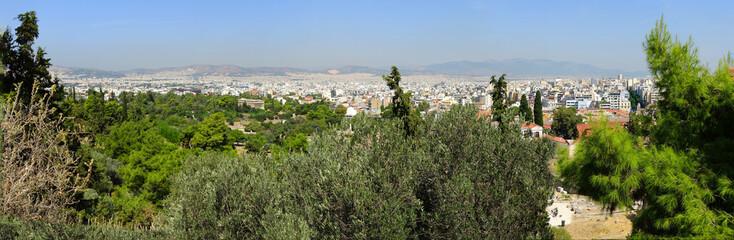 Vue panoramique d'Athènes depuis le rocher de l' Acropole