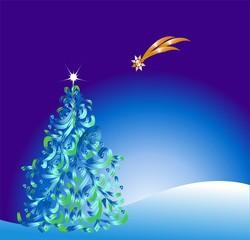bożonarodzeniowa dekoracja choinką,