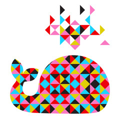 Canvas Prints Geometric animals Vector whale with abstract geometric background