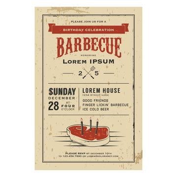 Vintage birthday party barbecue invitation
