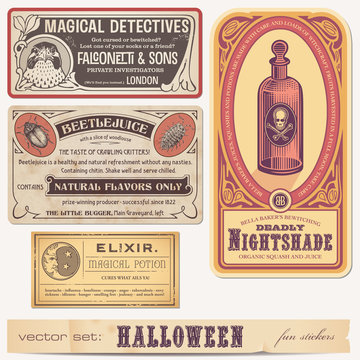 set of funny halloween stickers or labels