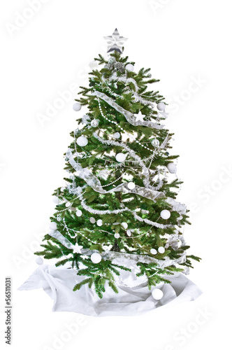 Sapin de no l d cor isol fond blanc photo libre de for Sapin de noel decore