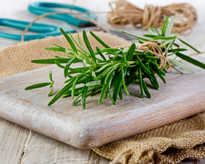 Rosemary on wooden table