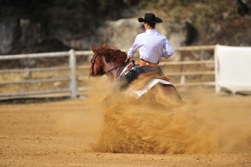 The rider is sliding a horse