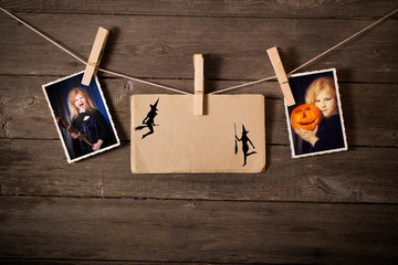 halloween   images on wooden background