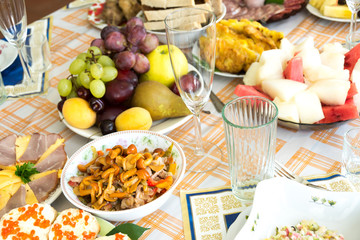 The food on the holiday table
