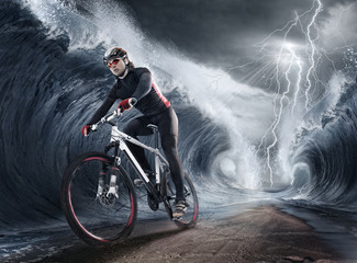 Wall Mural - waves cyclist