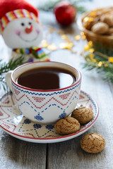 New year cup of hot chocolate and cookies