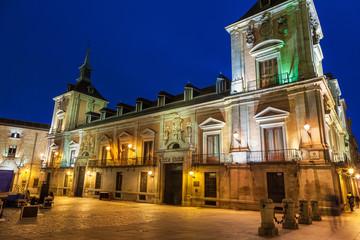 Casa de la Villa at night, Madrid, Spain. Former City Hall