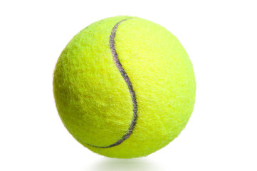close-up shot yellow tennis ball on a white background