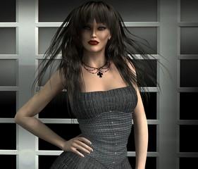 Woman in a gray dress