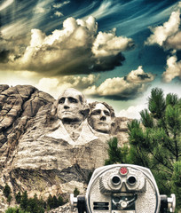 Fototapete - Mount Rushmore, South Dakota. View with telescope on foreground