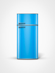 retro vintage old blue refrigerator in front view