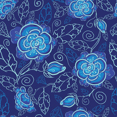 Vector blue night flowers seamless pattern background on dark