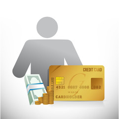 credit card money avatar illustration