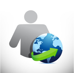 icon globe avatar illustration design