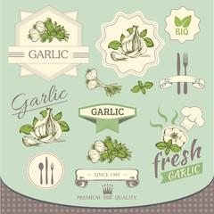 garlic spice, vegetables, product, label packaging design
