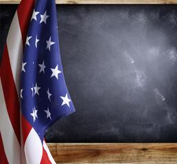 Flag and blackboard