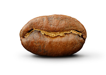 Coffee bean on white background Path to isolation in file