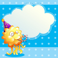A monster with a party hat and the empty cloud template