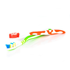Couple of colorful toothbrush isolated over white background