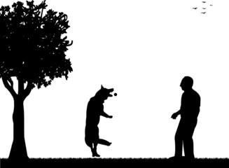 Man playing with his dog in the park silhouette layered