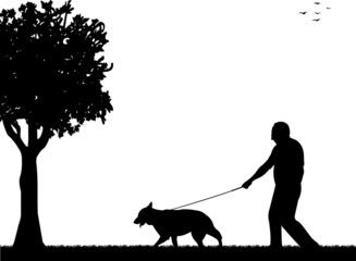 Man walking with his dog in the park silhouette layered