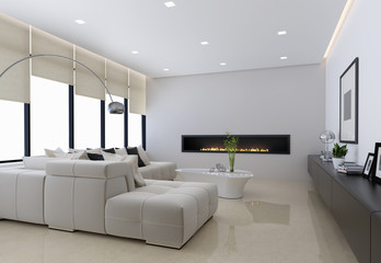 Contemporary interior, a living room with a flat gas fireplace