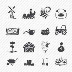 Farm Icons isolated on white background