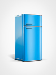 old vintage retro blue refrigerator in perspective view