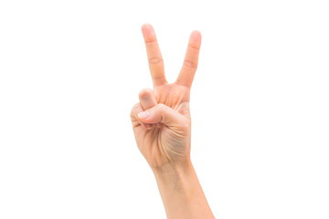 isolated woman hand shows victory sign