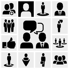 business vector icons set on gray.