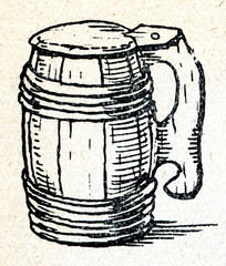 Wooden tankard for beer (Latvia, Dobele)