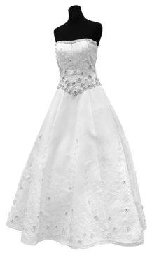 Beautiful and modern white wedding dress isolated on white background