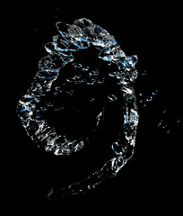water splashes on a black background