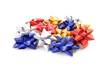 Collection of gift bows isolated on white background.