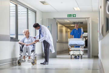 Doctor Patient Hospital Corridor Nurse Pushing Gurney Stretcher
