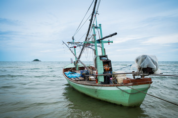Old Thai green fishing boat