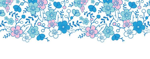vector blue and pink kimono blossoms horizontal seamless pattern