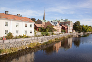 View over a canal. Houses and environment in Sweden.