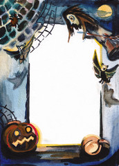 Decorative frame with Halloween pumpkins